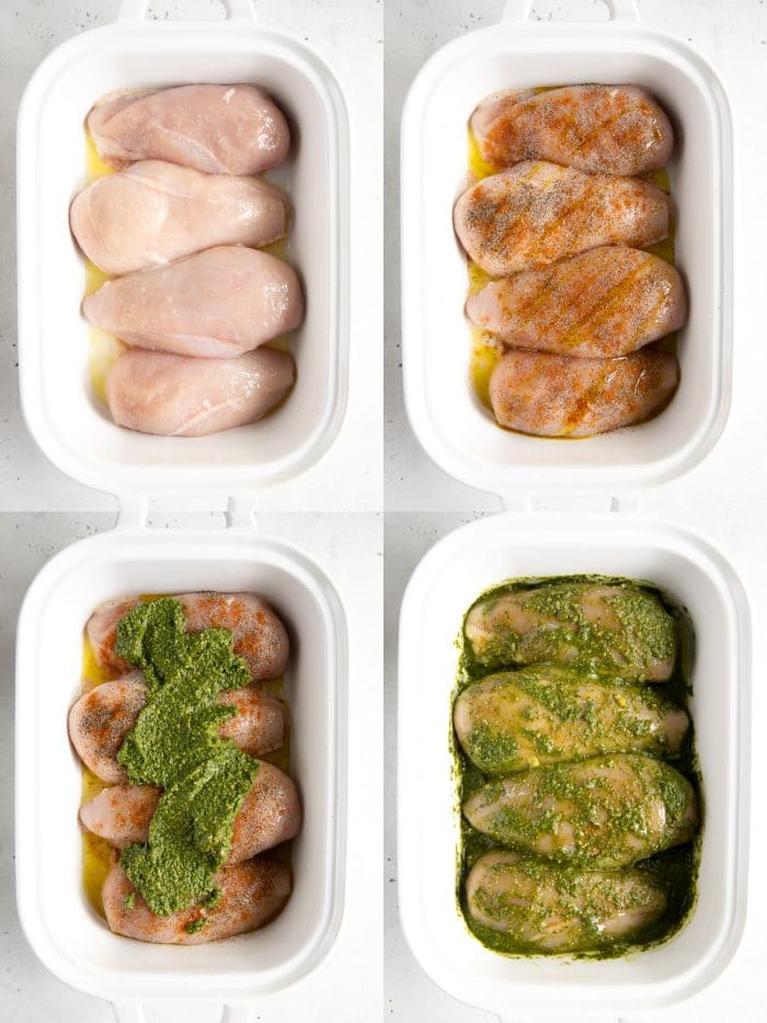 Collage of four images showing the steps involved in preparing oven-baked pesto chicken.