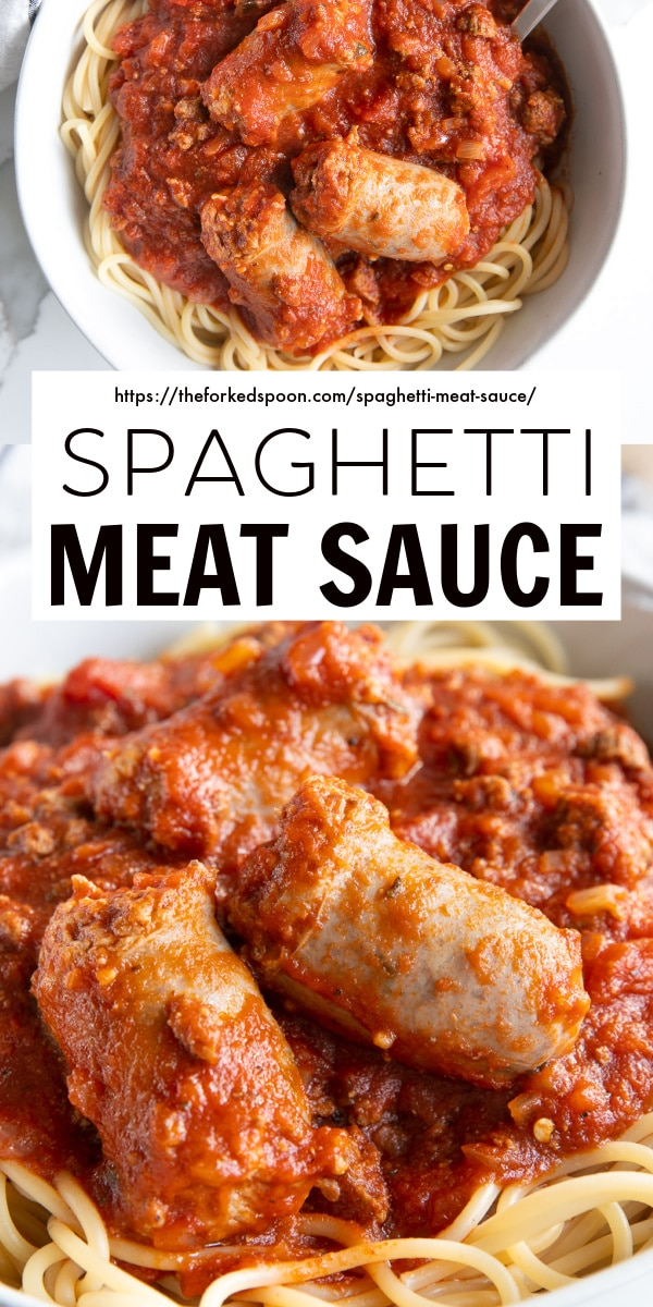 Spaghetti Meat Sauce Recipe pinterest pin collage image