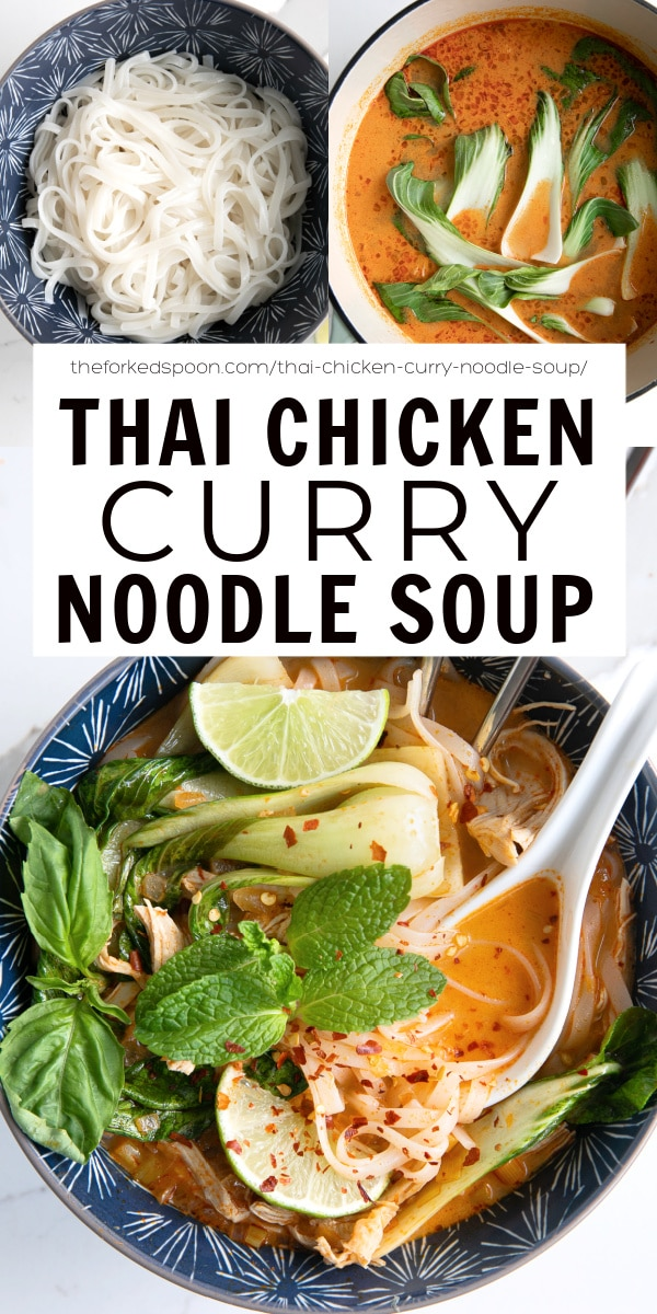 Thai Chicken Curry Noodle Soup Recipe pinterest pin collage image