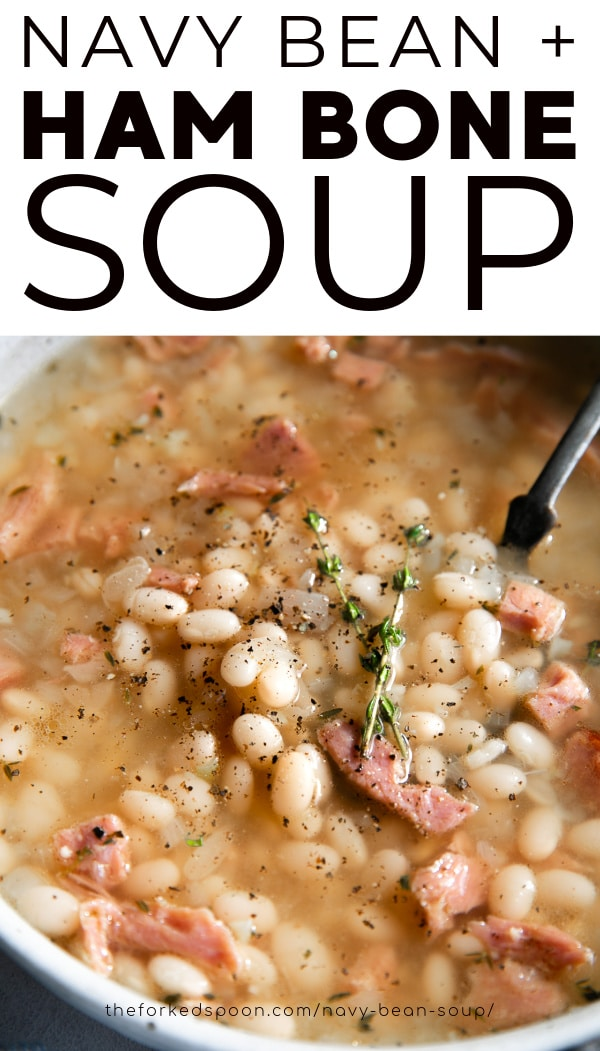 Navy Bean Soup with Ham pinterest pin collage image