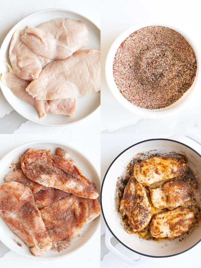 Collage of four separate images show the steps in seasoning thinly sliced chicken cutlets with the final image of the chicken cooking in a white skillet.