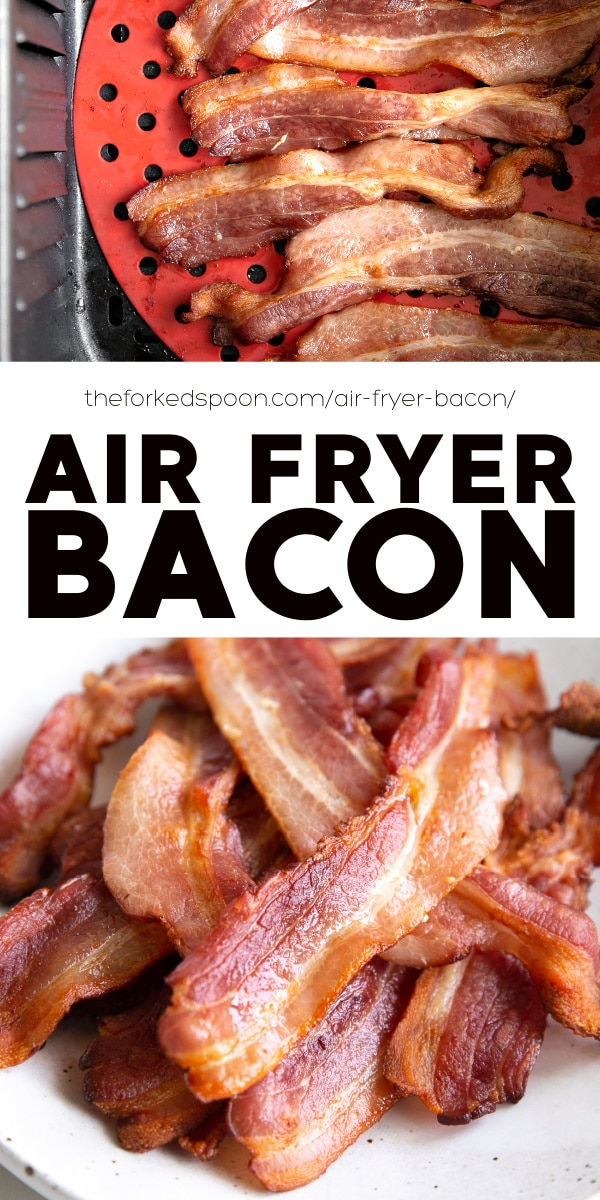 Air Fryer Bacon Recipe pinterest pin collage image