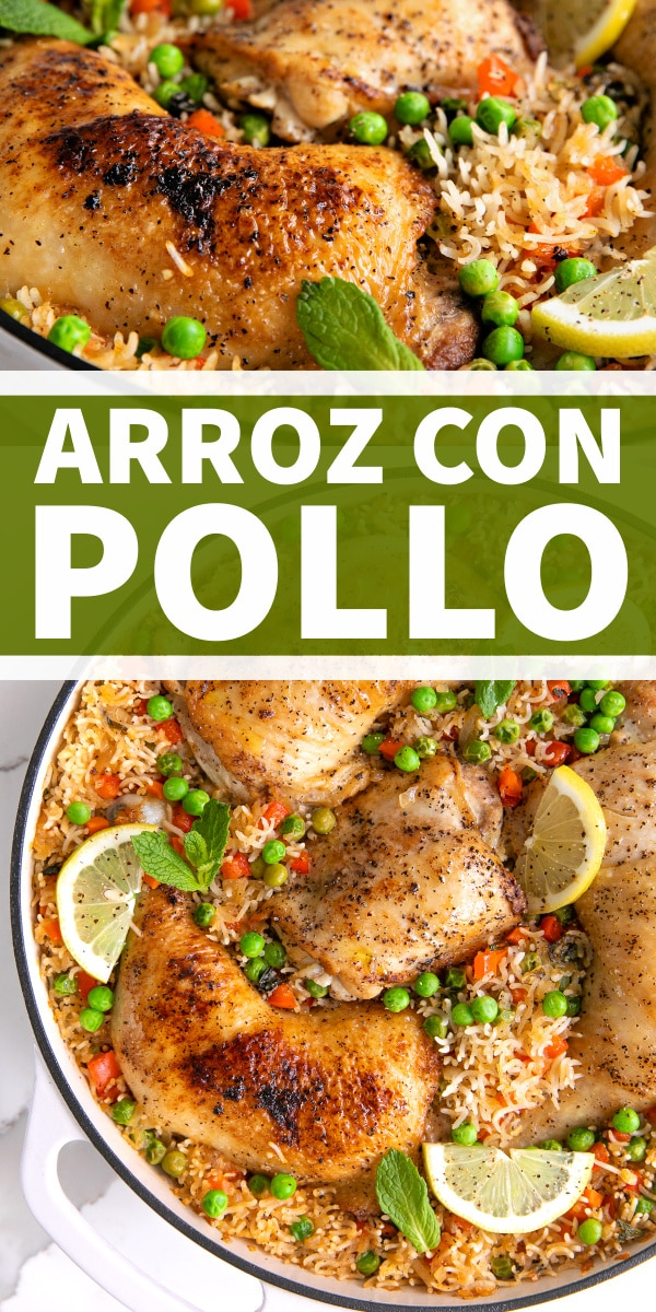 Arroz con Pollo - Chicken and Rice Recipe pinterest pin collage image