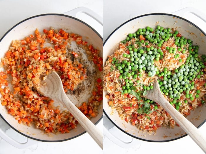 Collage of two images showing two of the steps required to make arroz con pollo - chicken and rice.