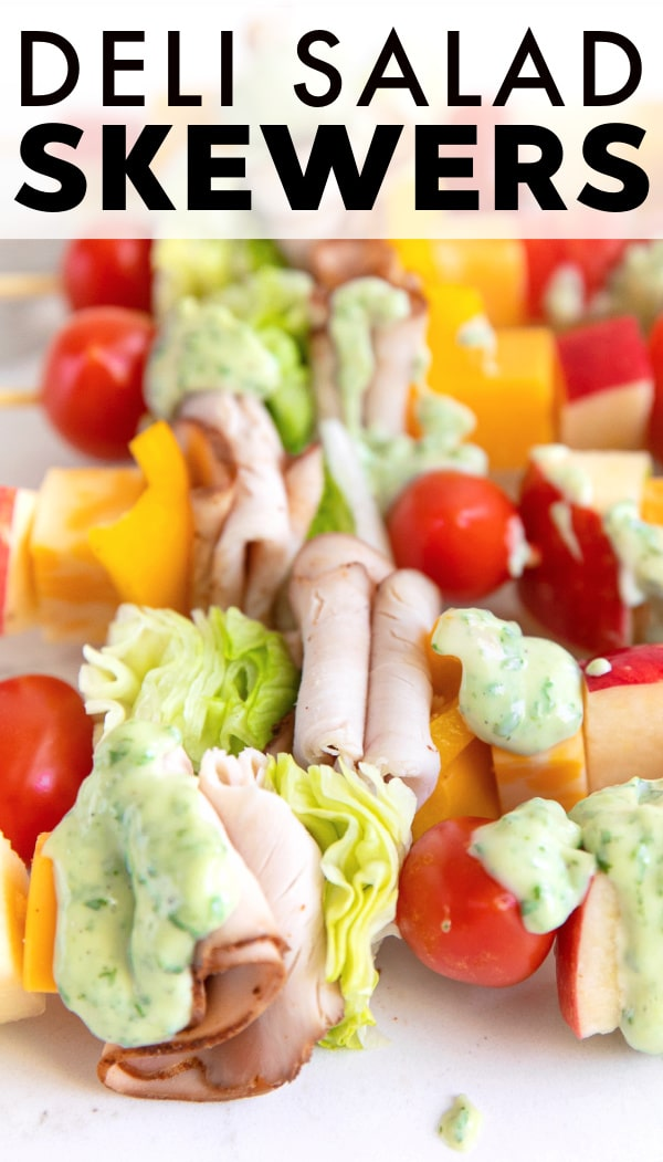 Deli Salad Skewers with 2-Ingredient Basil Mayonnaise pinterest pin collage image
