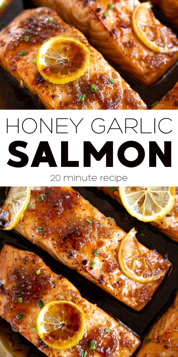 Honey Garlic Salmon Recipe pinterest pin collage image
