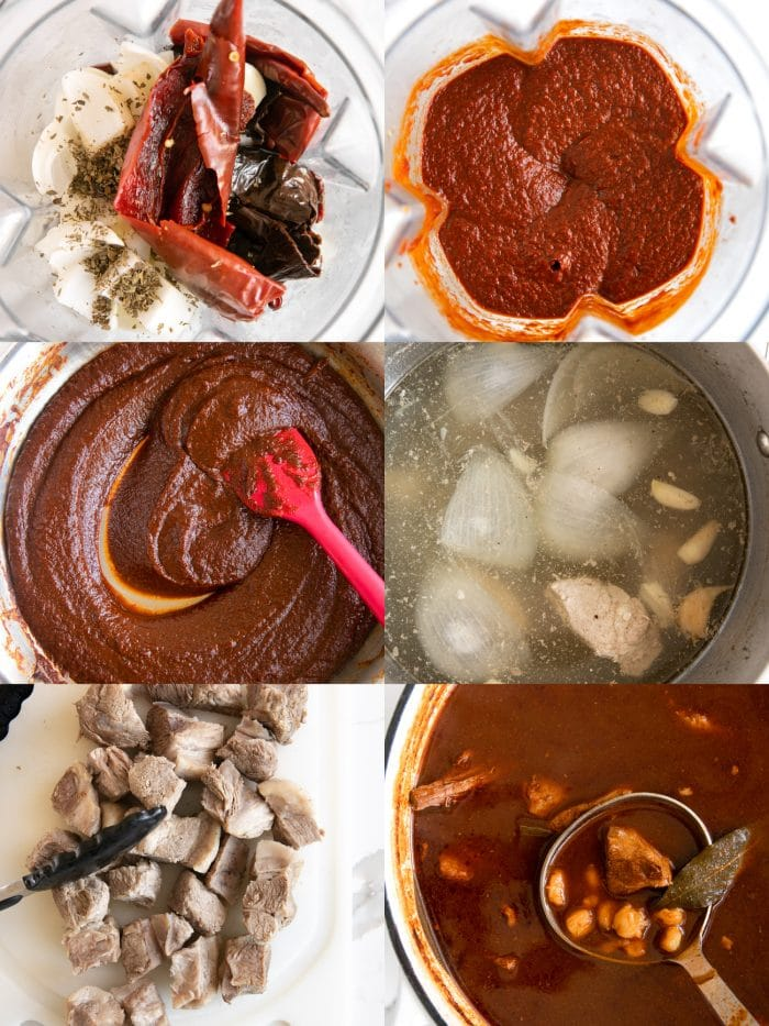 Six images in a collage showing the steps in making homemade posole recipe.