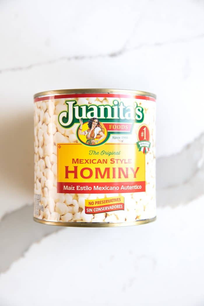 Image of a large can of unopened hominy.