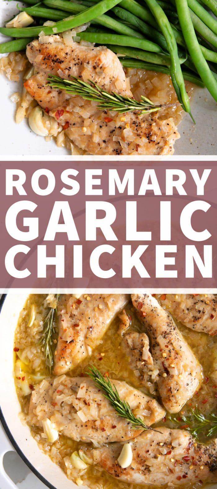 Rosemary Garlic Chicken Recipe pinterest pin collage image
