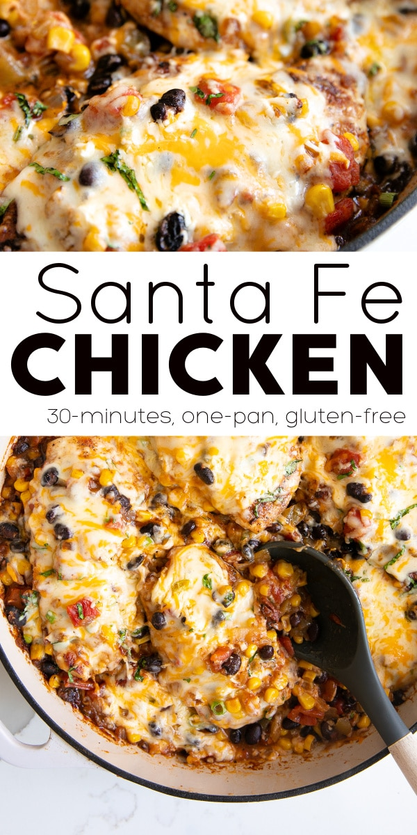 Santa Fe Chicken Recipe pinterest pin collage image