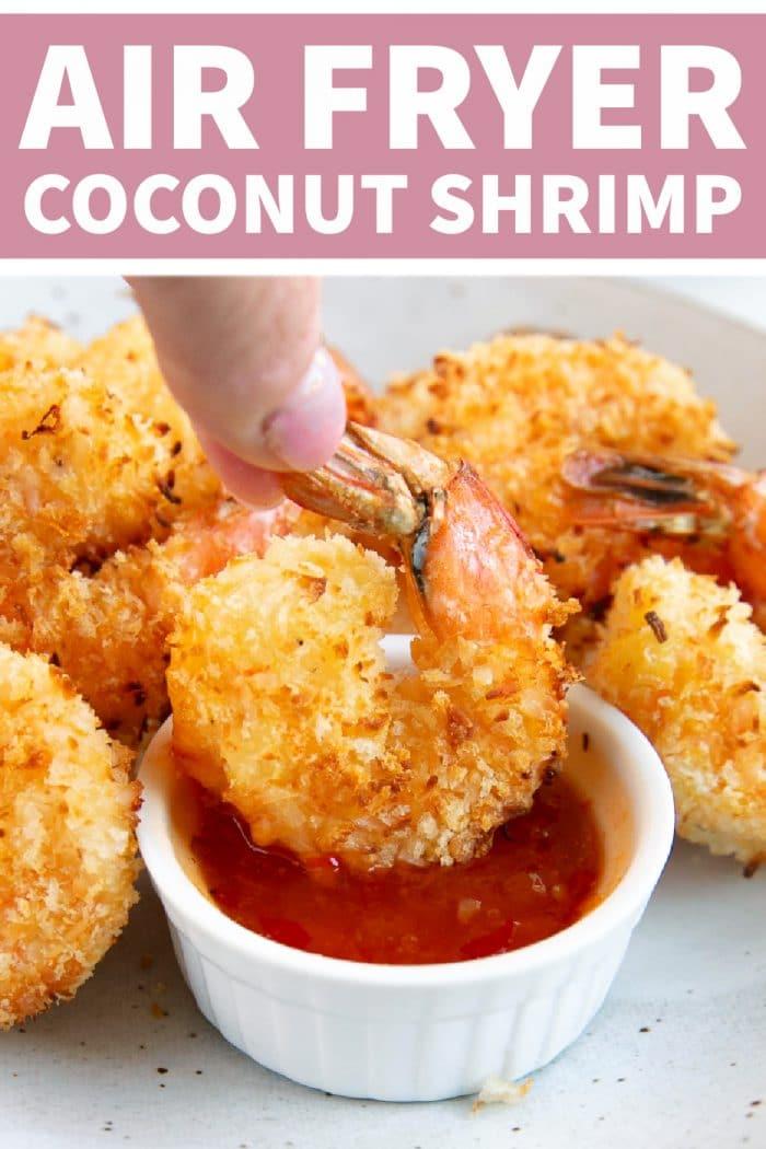 Air Fryer Coconut Shrimp Recipe Pinterest Pin Image Collage