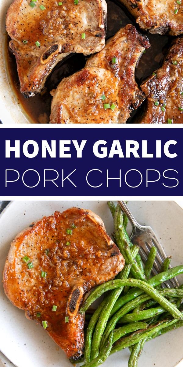 Easy Honey Garlic Pork Chops Pinterest Pin Image Collage