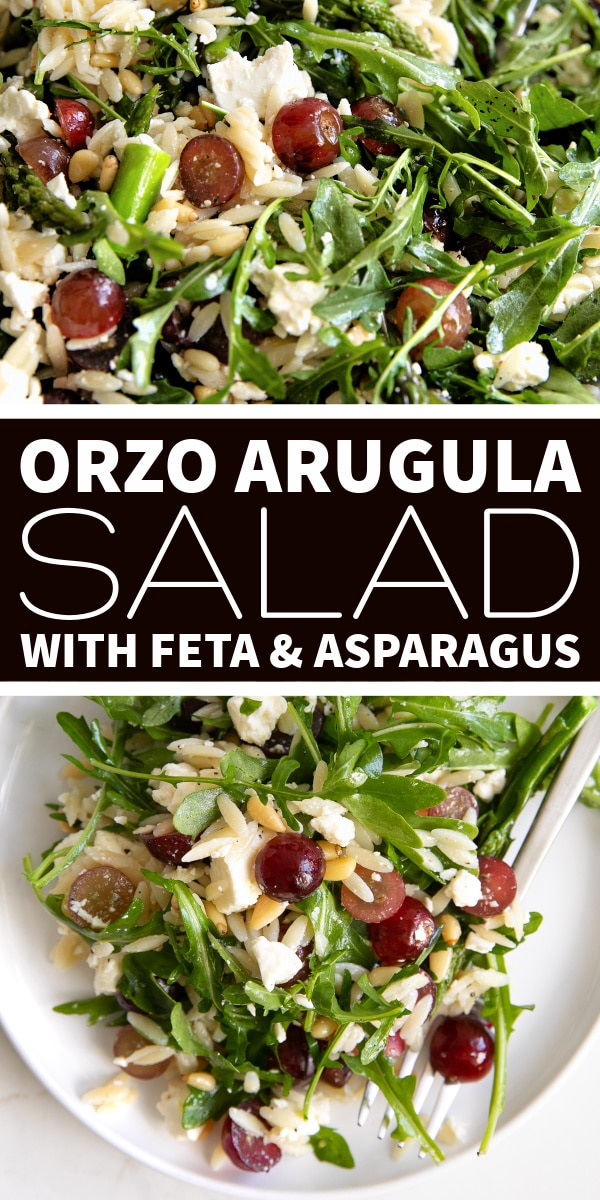 Orzo Arugula Salad with Feta and Grapes Pinterest Pin Image Collage
