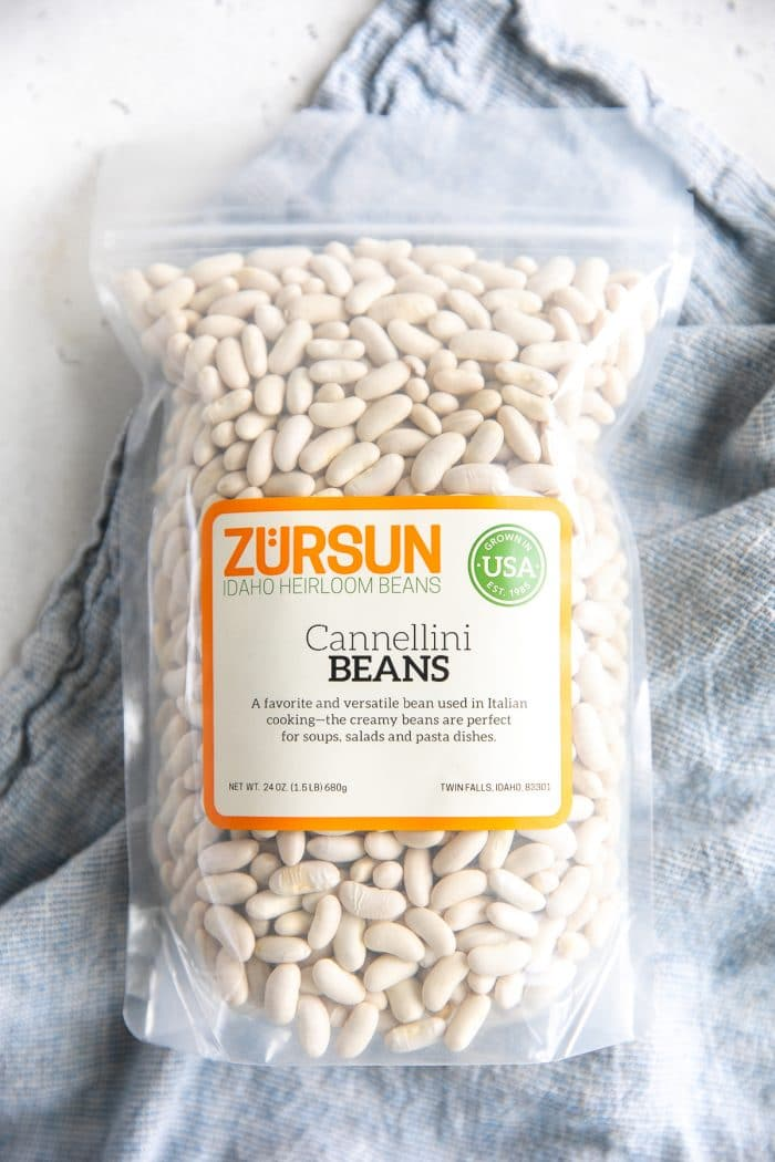 Unopened bag filled with Zursun Brand dried cannellini beans.