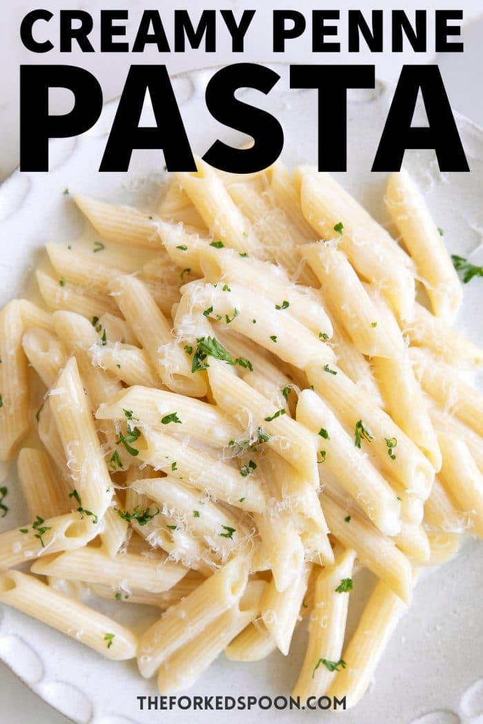 Creamy Penne Pasta Recipe Pinterest Pin Image Collage