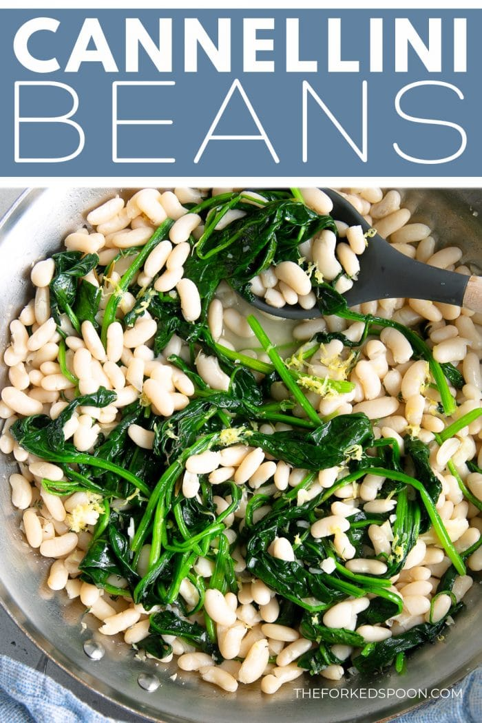 Cannellini Beans with Garlic and Spinach Pinterest Pin Image Collage