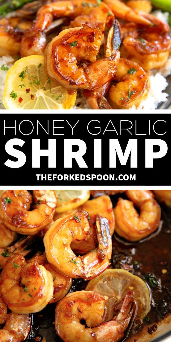 Honey Garlic Shrimp Recipe Pinterest Pin Image Collage