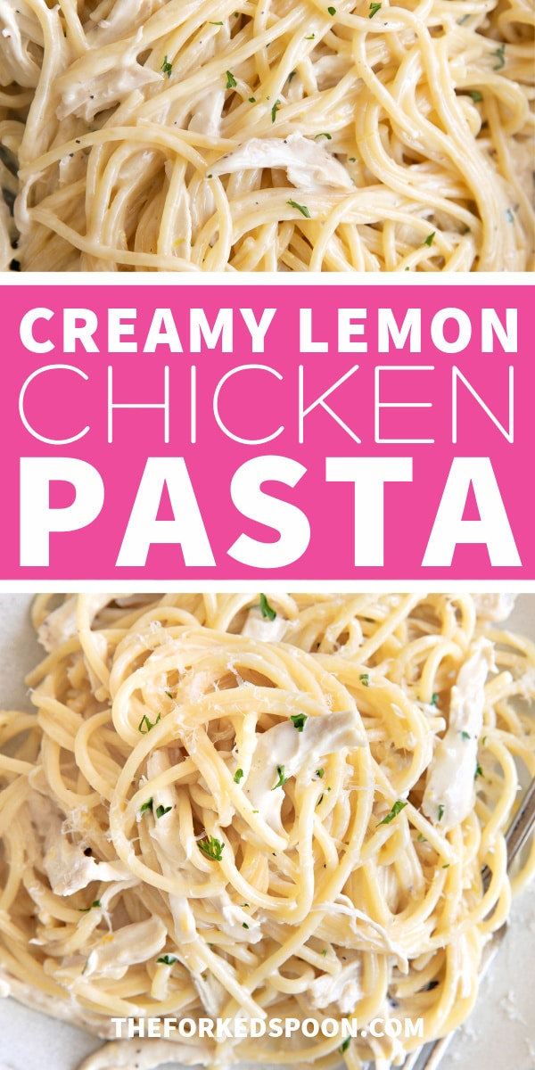 Creamy Lemon Chicken Pasta Pinterest Pin Image Collage