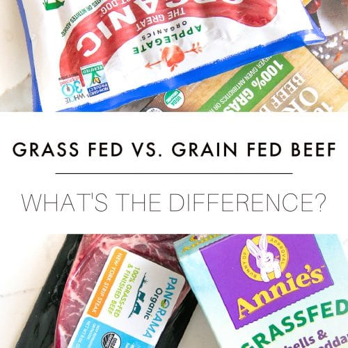 """Image of different grass fed beef products with text overlay """"Grass-Fed vs. Grain-Fed Beef: What's the Difference"""""""