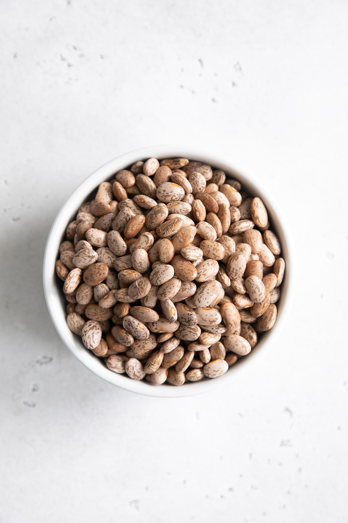Image of dry pinto beans in a small white ramekin.