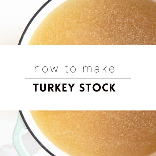 """Turkey stock in a large pot with text overlay """"how to make turkey stock"""""""