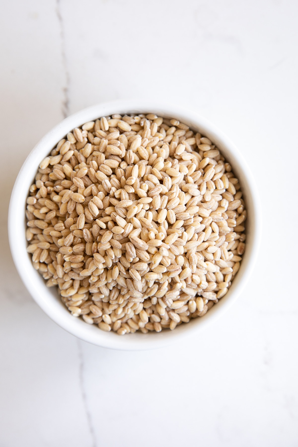 Small white ramekin filled with pearled barley.