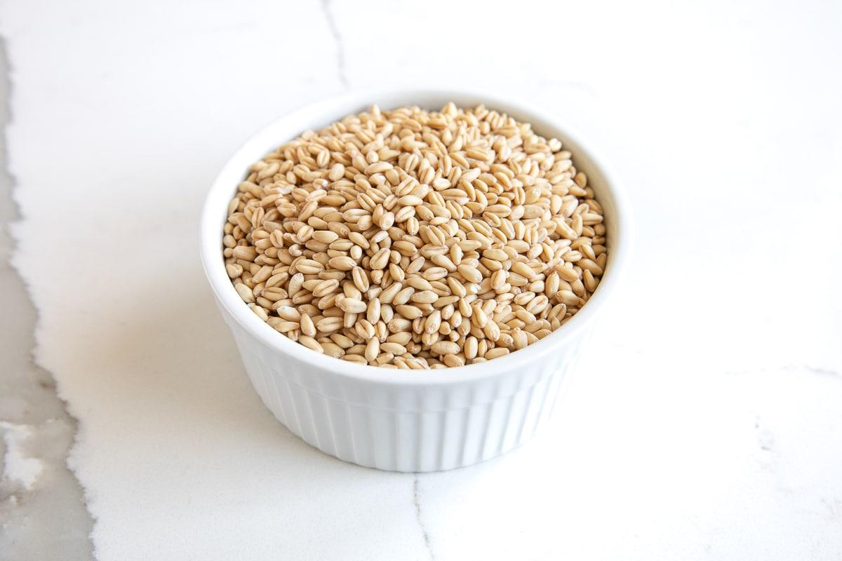 Small white ramekin filled with wheat groats or wheat berries.