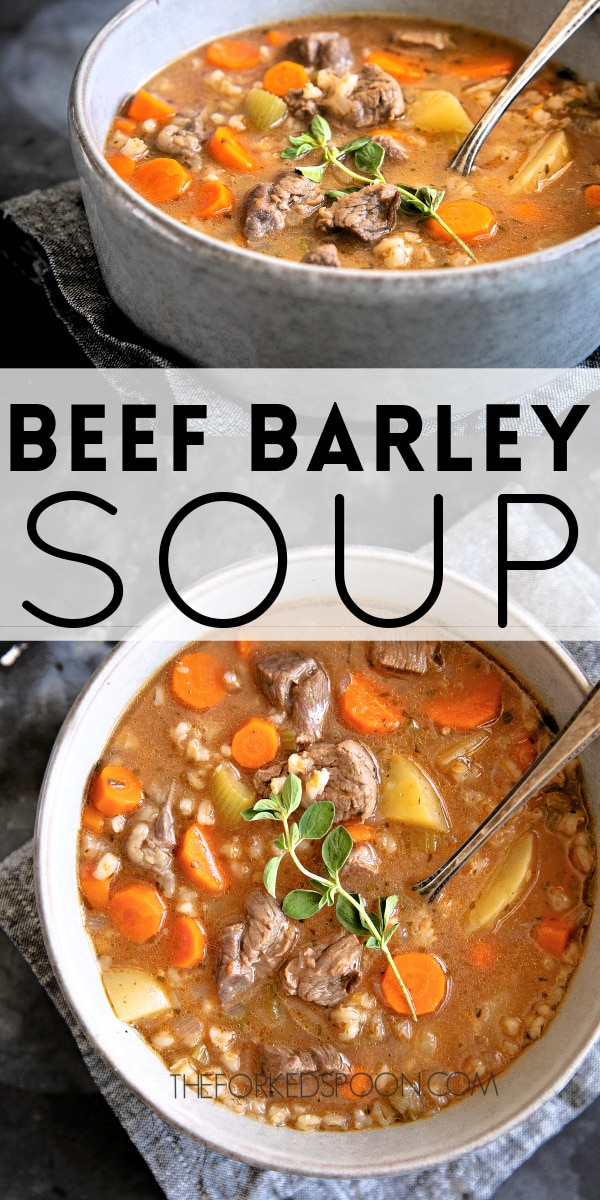 pinterest pin collage image of beef barley soup.
