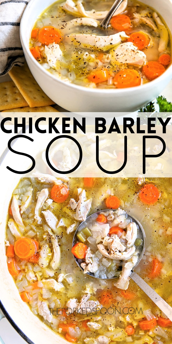 chicken barley soup pinterest pin image collage