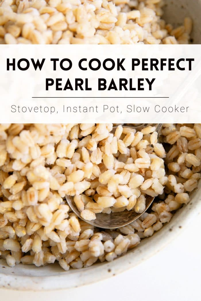 pinterest pin collage image for how to cook pearl barley
